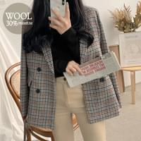 Black Wool Check Jacket