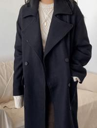 Big Color Double Button Wool Coat-ct