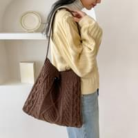 Leather Strap Knit Bag-bag