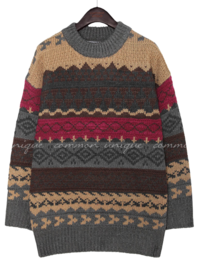 LOTE NORDIC LOOSE FIT ROUND KNIT