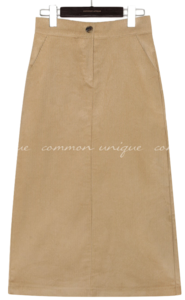 CORDUROY SLIT BANDING LONG SKIRT