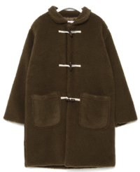 faux fur long duffle coat