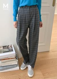 Wool Check Pintuck Slacks