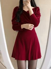 Prince Velvet Wrap Off Shoulder Dress
