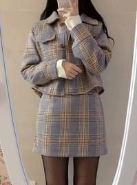 L check quilted jacket + skirt set