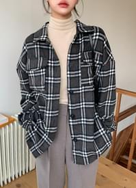 Wool checked shirt jacket