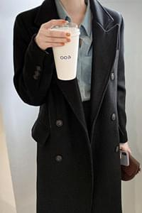 With Double Long Coat-Black
