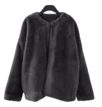 non collar fake fur jacket