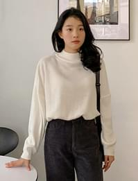 Loose half neck knit_J (size : free)