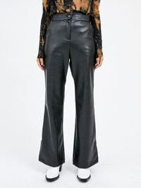 boots-cut leather slit pants - woman