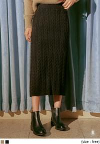 LOBEY TWIST KNIT LONG SKIRT