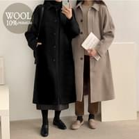 Terra Hidden Single Wool Long Coat