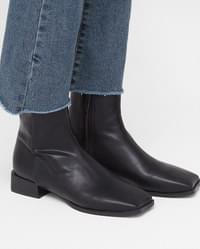 square toe line ankle boots