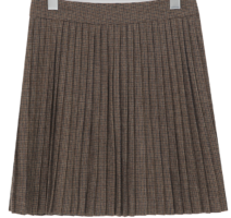 Check Pleated Wool Mini Skirt