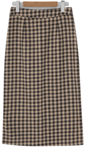 Check wool long skirt_Y (size : S,M)