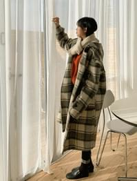 Wool check overfit hooded duffle coat