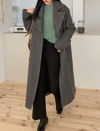 Herringbone double-button wool coat-ct