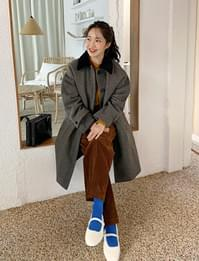 Wool corduroy collar coat_U (size : free)