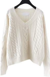 deep V-neck twist loose knit