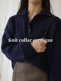 Knit collar cardigan _Y