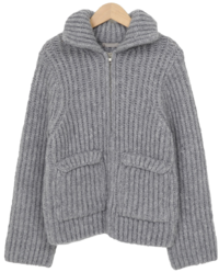 Wool knit pola zip-up_J (size : free)