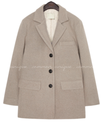 GRAIN WOOL SINGLE HALF COAT