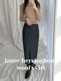 Lor herringbone wool skirt