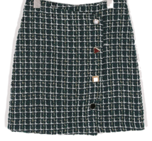 Tweed button mini skirt