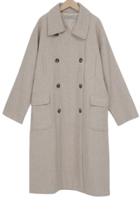 Herringbone wool double coat (size : free)