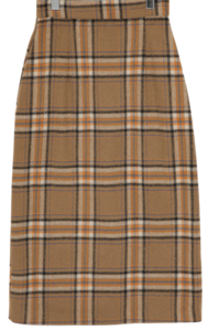 Caramel check wool skirt_A (size : S,M)