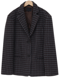 Wool check boxy jacket_U (size : free)