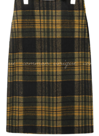 LEDIN WOOL CHECK SLIT MIDI SKIRT