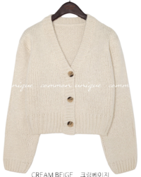 Big Front Button V-Neck Cardigan