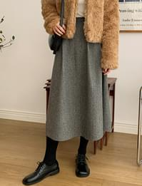 Pintuck flare wool skirt_A (size : S,M)
