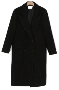 Double-button wool trim long coat