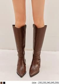 LEATHER WESTERN LONG BOOTS