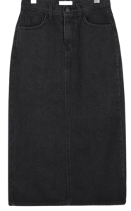 Chess black denim skirt skirt