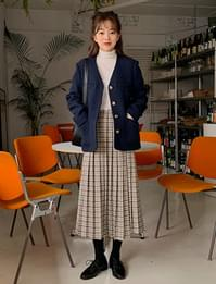 Well check pleats skirt_J (size : free)