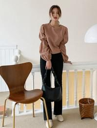 Puffing Cropped Blouse-bl