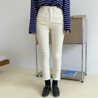 Hem semi-skinny cotton pants