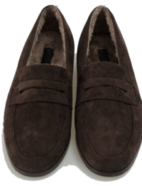 Suede fur loafers