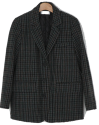 Check Pattern Single Wool Jacket-jk jacket