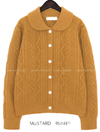 PLEZ WOOL COLLAR KNIT CARDIGAN
