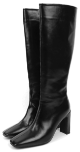 square slim leather long boots
