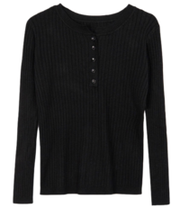 Slim ribbed button knit