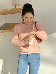 Cable round neck knit_A (size : free)