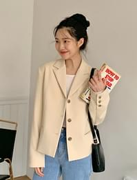 Butter short button jacket_A (size : free)