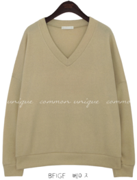 LOKE V NECK LOOSE FIT KNIT MTM Long Sleeve