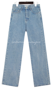 DIVA SLIT STRAIGHT DENIM PANTS