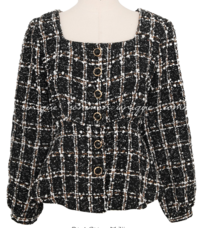DELIGHT TWEED PEPLUM BLOUSE